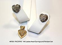 14K Ladies Heart Earrings and Pendant Set