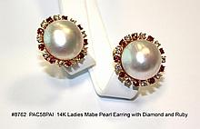 14K Ladies Mabe Pearl Earring with Diamond and Ruby
