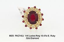 14K Ladies Ring 10.47ct E. Ruby .52ct Diamond