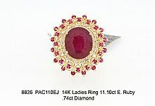 14K Ladies Ring 11.10ct E. Ruby .74ct Diamond