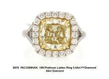 18K/Platinum Ladies Ring 5.04ct FYDiamond .84ct Diamond