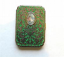 Austrian  Sterling Miniature Portrait Enamel Holder Box