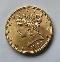 1900 Liberty Head Half Eagle 5 Dollar Gold US Coin