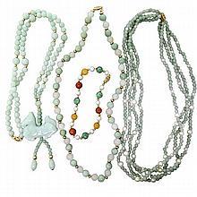 14K Gold Jade Pearl Bracelet Necklace Lot of 4