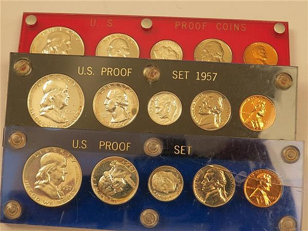 US 1957 Silver Proof Coin Set Lot of 3