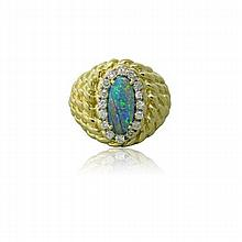 18K Gold Black Opal Diamond Dome Ring
