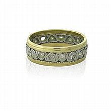 14k Gold Diamond Antique Band Ring