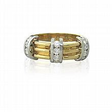 18K Gold Platinum Diamond Band Ring