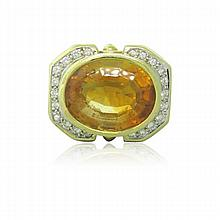 18k Gold Diamond Citrine Ring