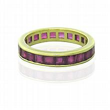 18k Gold Ruby Eternity Band Ring