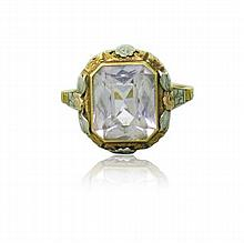 Art Deco 14k Gold Gemstone Ring