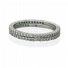14k Gold Diamond Wedding Band Ring Set of 2