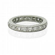 Art Deco Platinum French Cut Diamond Eternity Band Ring