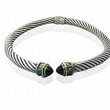 David Yurman  14K Gold Sterling Gemstone Cable Collar Necklace