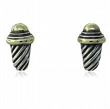 David Yurman 14k Sterling Cable Earrings