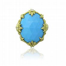 Judith Ripka 18k Gold Diamond Turquoise Ring