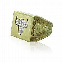 "14k Gold Diamond ""Chicago"" Bull Ring"