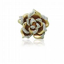 14K Rose Gold Diamond Rose Ring