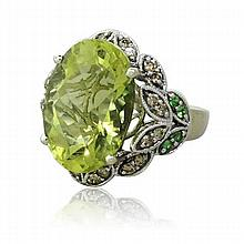 14k Gold Olive Green Quartz Diamond Ring