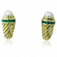 David Yurman 14K Gold Emerald Pearl Shrimp Earrings