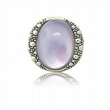 Michael Dawkins Sterling Silver MOP Quartz Ring
