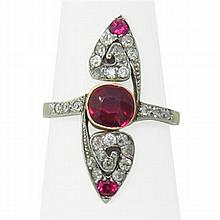 Antique 18k Gold Diamond Ruby Ring