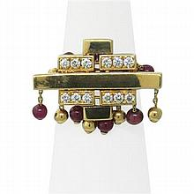 French 18K Gold Ruby Diamond Japanese Theme Ring