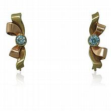 1940s 14K Gold Blue Zircon Earrings
