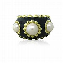 18k Gold Black Enamel Pearl Ring