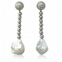 18k Gold Diamond South Sea Baroque Pearl Earrings