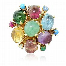 14k Gold Gem Set Cocktail Ring
