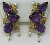 18k Gold Amethyst Pearl Earrings