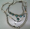 Native American Sterling Gemstone Necklace Lot of 3