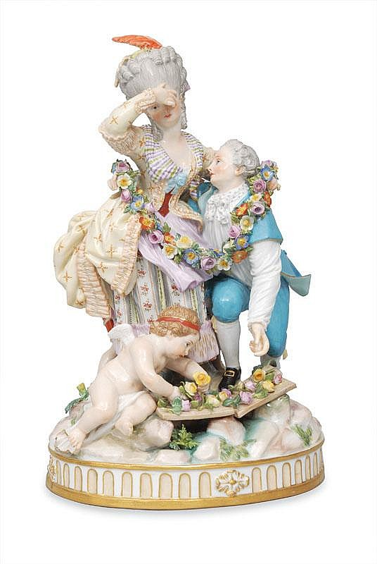 Acier, Michael Victor.  Versailles 1736 - Dresden 1799  A rare figurine group 'The broken bridge'