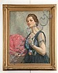 H. S. (Harold S.) DeLay, 20th C, American, Woman with Pink Fan, an oil on canvas, 26
