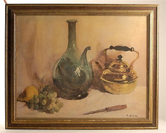 Rudolph Colao, b. 1927, New England, Still Life with Wine Jug, Brass Kettle and Fruit, an oil on canvas,