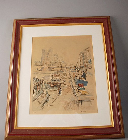 Eugene Veder 1876-1976 The Left Bank Artists Market Lithograph in colors,