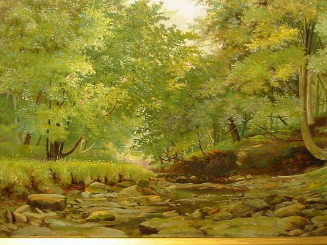GEORGE DEAN OYSTON, A Woodland Stream, signed and