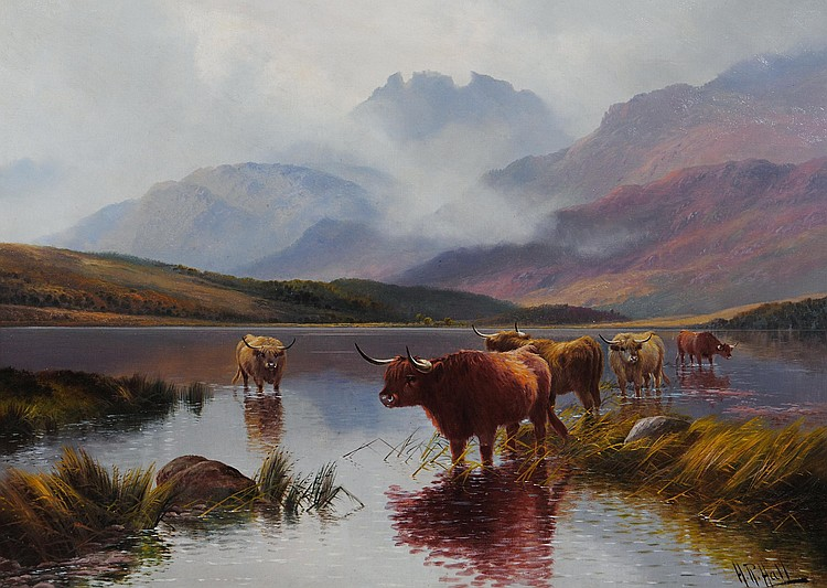 HENRY R HALL (fl 1875-1902), Highland Cattle, Loch