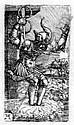 Albrecht Altdorfer Um 1480 - Regensburg - 1538 Horatius Cocles springt in den Tiber. Kupferstich. 6,5 : 3.8cm (7,3 : 4.3cm). B. 29. New Hollstein e.35. - Winzinger 156. - Vorzuglicher, tiefschwarzer Druck mit Rand. - Aus Sammlung Dr. Herweg (nicht