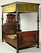A SECOND RENAISSANCE-STYLE WALNUT CANOPY BED