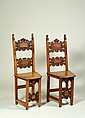 TWO SOLID WALNUT CHAIRS