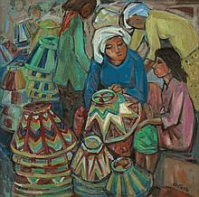 TEW NAI TONG (b. 1936 - d. 2013), Market Scene, undated, oil on canvas