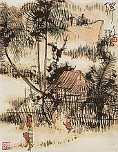 HUANG YAO (b. 1917 - d. 1987), Kampung Life 偕行 , 1980, Ink & colour on rice paper mounted on scroll