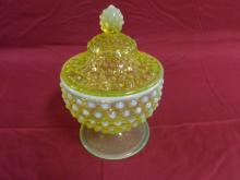 Vaseline Opelescent Candy Dish