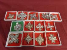 13 Reed & Barton Sterling Christmas Ornaments