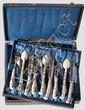 WAFFEN UND KUNSTHANDWERK OSMANISCHES REICH - Cased Sarajevo silver-inlaid cutlery