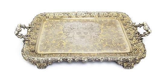 * A George IV Gilt Silver Tray, John Bridge for Rundell, Bridge & Rundell, Width over handles 29 1/4 inches.