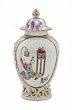 A Chinese Export Porcelain Tea Caddy Height 5 1/2.