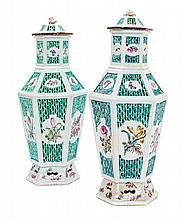 A Pair of Chinese Export Porcelain Reticulated Vases and Covers Height 14 inches.
